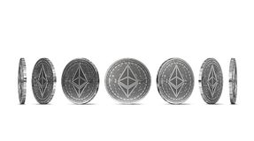 Silver Ethereum coin shown from seven angles isolated on white background. Easy to cut out and use particular coin angle. 3D rendering royalty free illustration