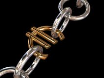 Silver euro chain Stock Photos