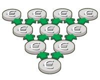 Silver euro coins. Geometric progression, finance concept Royalty Free Stock Image
