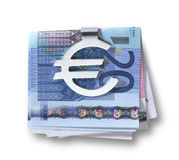 Silver euro money clip and folded euros  path. A silver euro money clip  and folded euros with clipping path Royalty Free Stock Image