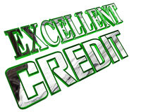 Silver excellent credit text on a white background Royalty Free Stock Image