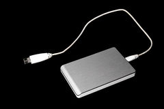 Silver External USB Hard Disk Drive Stock Photo