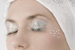 Silver eyelashes Stock Photography