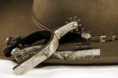 silver för cowboyhatten sporrar Royaltyfri Fotografi