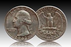 Silver för mynt för dollar för Förenta staternapengarfjärdedel, lutningbakgrund royaltyfri fotografi
