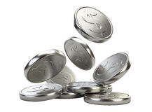 Silver falling coins Royalty Free Stock Photo