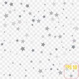 Silver falling confetti stars. Luxury festive background.. Silver abstract texture on a transparent  background. Element of design. Vector illustration Royalty Free Stock Photos