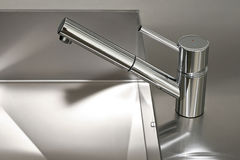 Silver faucet Royalty Free Stock Images
