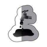 Silver faucet with petroleum drop contamination. Illustration design Stock Photos