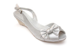 Silver female shoe isolated Stock Photo