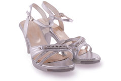 Silver female shoes Royalty Free Stock Images