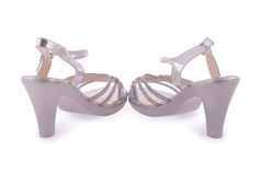 Silver female shoes Royalty Free Stock Photo