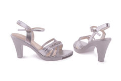 Silver female shoes Stock Photo