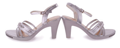 Silver female shoes Royalty Free Stock Photography