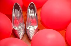 Beautiful gray high heels shoes for brides. Wedding ceremony con royalty free stock images