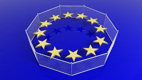 Silver fence around European Union flag's stars Stock Images