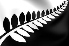 Silver Fern Black. & White Flag, Proposal Flag New Zealand Stock Photography