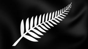 Silver Fern Flag, Nya Zeeland royaltyfri illustrationer