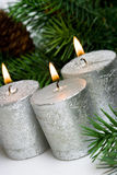 Silver festive candles Stock Image