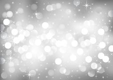 Silver festive lights, vector background. Royalty Free Stock Photo