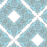Silver filigre seamless pattern. Blue jewelry background stock illustration