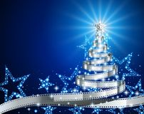 Silver Film Strip Christmas Tree Royalty Free Stock Photos