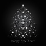 Silver fir tree made of connected lines and dots.  Stock Photo
