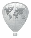 Silver fire balloon World map Royalty Free Stock Photos