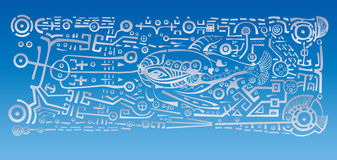 Silver fish. Graphic figure of a whale on a blue background Royalty Free Stock Photography