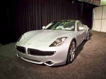 Silver Fisker Karma plug-in hybrid model 2011 Royalty Free Stock Photos