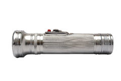Silver flashlight on an isolated background royalty free stock images
