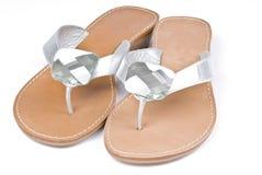 Silver Flip Flops Stock Photography