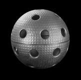 Silver floorball ball Royalty Free Stock Image