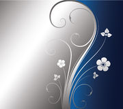 Silver floral background. With place for text Vector Illustration