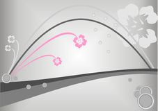 Silver floral background, vector illustration. Pink and grey flowers and circles on a silver background Stock Images
