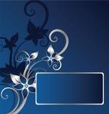 Silver floral frame. Silver and blue floral frame Vector Illustration