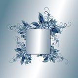Silver floral frame. Silver and blue floral frame Stock Illustration