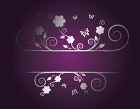 Silver floral frame Stock Photo