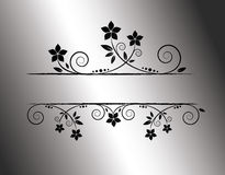 Silver floral frame. With place for text Stock Illustration