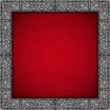Silver Floral Frame on Red Velvet Background Stock Photos