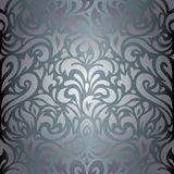 Silver floral luxury vintage wallpaper background design Royalty Free Stock Photos