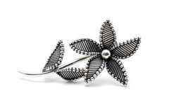 Silver flower brooch Royalty Free Stock Photography