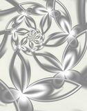 Silver Flowers. Fractal flowers. Spirals of silver flowers Royalty Free Stock Images