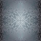 Silver Flowers, Floral shiny decorative vintage wallpaper Background trendy fashion mandala design royalty free illustration