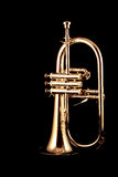 Silver fluegelhorn in night. Silver fluegelhorn with mouthpiece isolated on black Stock Image