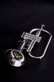 Silver Flugalhorn Isolated On Black Backgound Royalty Free Stock Images