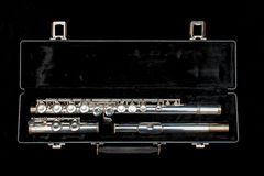 Silver flute in case isolated Stock Photo