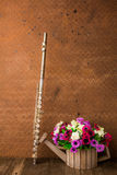 Silver flute and flower Stock Photos