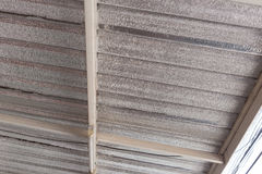 Silver foil insulation on ceiling roof Royalty Free Stock Photography