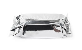 Silver foil sealed package isolated Stock Photo